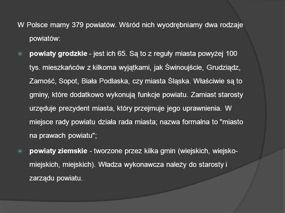 W Polsce mamy 379 powiatów. Wśród nich wyodrębniamy dwa rodzaje powiatów: powiaty grodzkie - jest ich 65. Są to z reguły miasta powyżej 100 tys. miesz