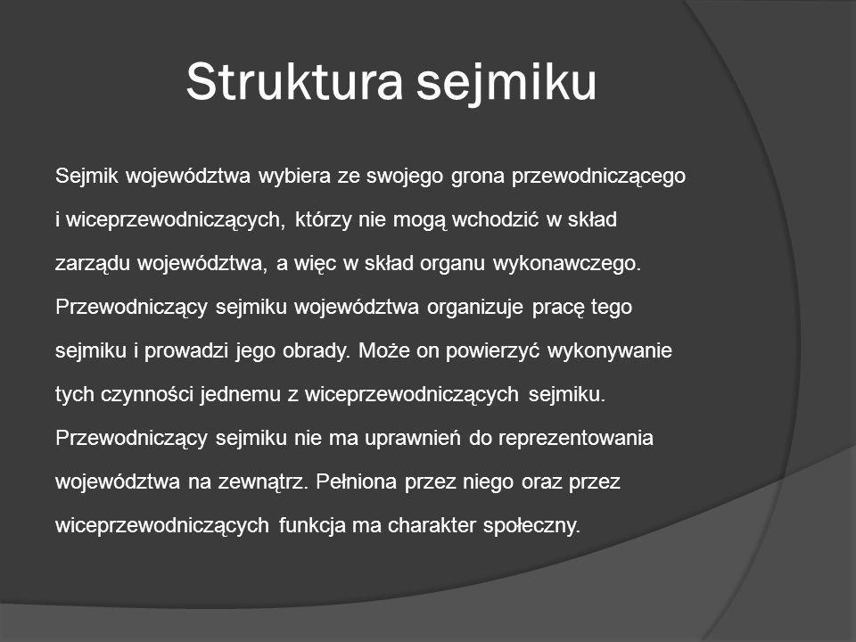 Struktura sejmiku Sejmik województwa wybiera ze swojego grona przewodniczącego i wiceprzewodniczących, którzy nie mogą wchodzić w skład zarządu wojewó