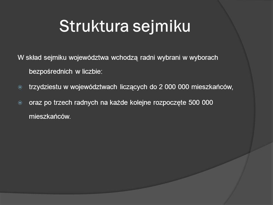 Struktura sejmiku W skład sejmiku województwa wchodzą radni wybrani w wyborach bezpośrednich w liczbie: trzydziestu w województwach liczących do 2 000