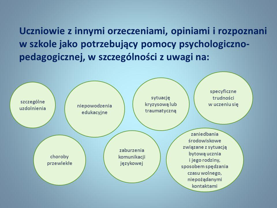 Uczniowie z innymi orzeczeniami, opiniami i rozpoznani w szkole jako potrzebujący pomocy psychologiczno- pedagogicznej, w szczególności z uwagi na: sz
