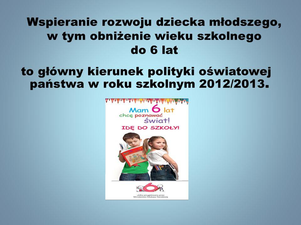Wspieranie rozwoju dziecka młodszego, w tym obniżenie wieku szkolnego do 6 lat to główny kierunek polityki oświatowej państwa w roku szkolnym 2012/201