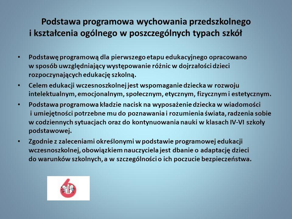 Podstawa programowa wychowania przedszkolnego i kształcenia ogólnego w poszczególnych typach szkół Podstawę programową dla pierwszego etapu edukacyjne