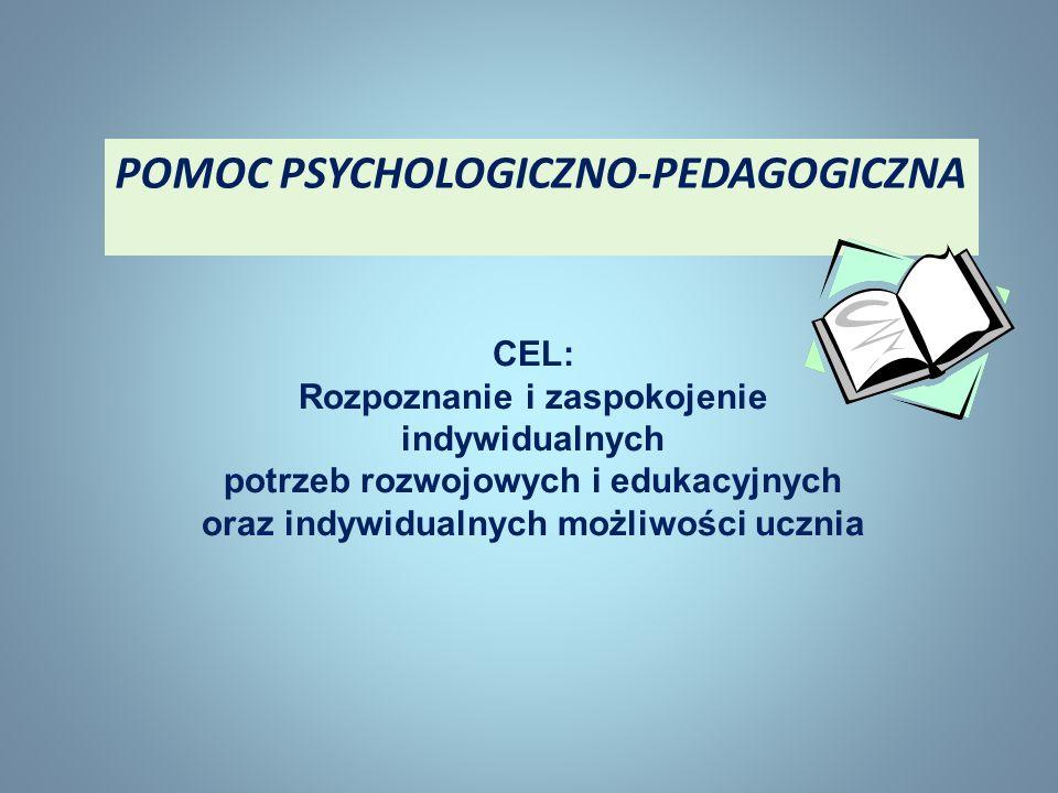 POMOC PSYCHOLOGICZNO-PEDAGOGICZNA CEL: Rozpoznanie i zaspokojenie indywidualnych potrzeb rozwojowych i edukacyjnych oraz indywidualnych możliwości ucz