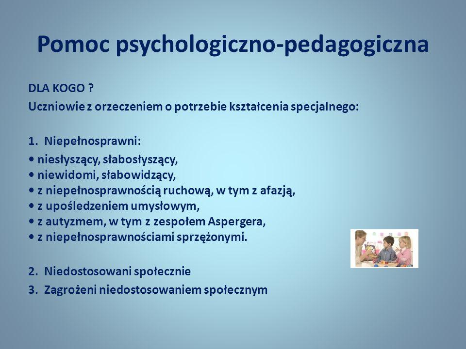 Pomoc psychologiczno-pedagogiczna DLA KOGO ? Uczniowie z orzeczeniem o potrzebie kształcenia specjalnego: 1. Niepełnosprawni: niesłyszący, słabosłyszą