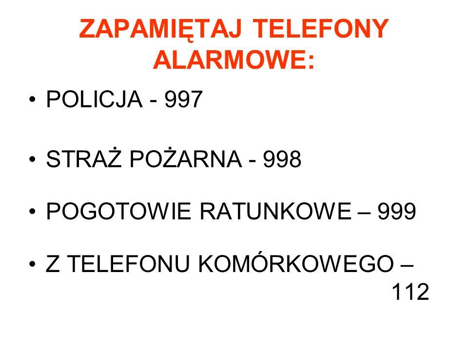 ZAPAMIĘTAJ TELEFONY ALARMOWE: POLICJA - 997 STRAŻ POŻARNA - 998 POGOTOWIE RATUNKOWE – 999 Z TELEFONU KOMÓRKOWEGO – 112