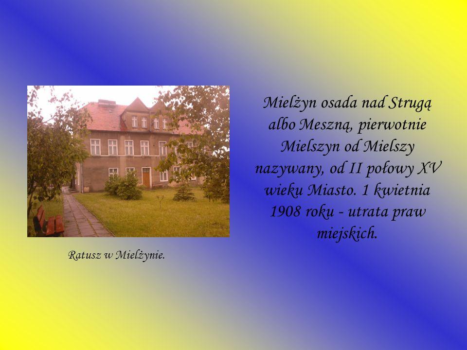 Mielżyn osada nad Strugą albo Meszną, pierwotnie Mielszyn od Mielszy nazywany, od II połowy XV wieku Miasto. 1 kwietnia 1908 roku - utrata praw miejsk
