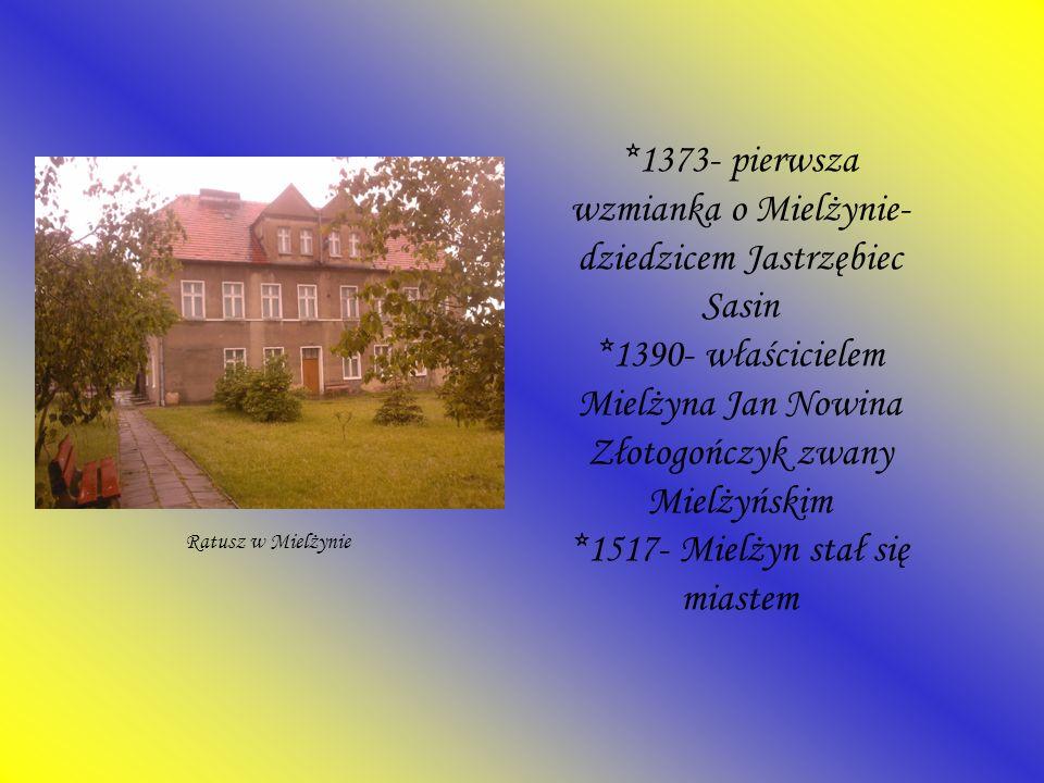 *1373- pierwsza wzmianka o Mielżynie- dziedzicem Jastrzębiec Sasin *1390- właścicielem Mielżyna Jan Nowina Złotogończyk zwany Mielżyńskim *1517- Mielż