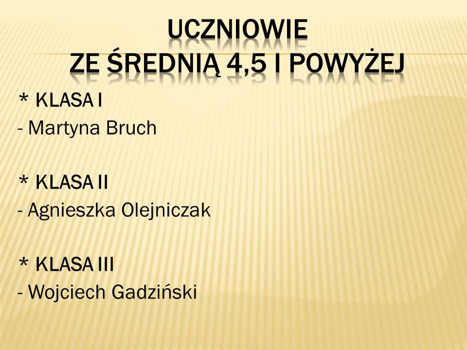 * KLASA I - Martyna Bruch * KLASA II - Agnieszka Olejniczak * KLASA III - Wojciech Gadziński