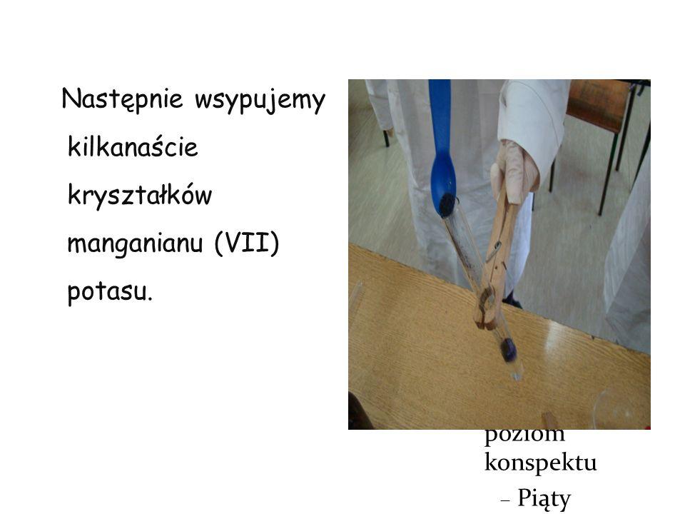 Kliknij, aby edytować format tekstu konspektu Drugi poziom konspektu Trzeci poziom konspektu Czwarty poziom konspektu Piąty poziom konspektu Szósty poziom konspektu Siódmy poziom konspektu Ósmy poziom konspektu Dziewiąty poziom konspektuKliknij, aby edytować style wzorca tekstu Drugi poziom Trzeci poziom Czwarty poziom Piąty poziom Następnie wsypujemy kilkanaście kryształków manganianu (VII) potasu.