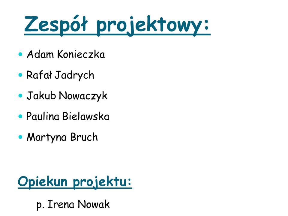 Zespół projektowy: Adam Konieczka Rafał Jadrych Jakub Nowaczyk Paulina Bielawska Martyna Bruch Opiekun projektu: p. Irena Nowak