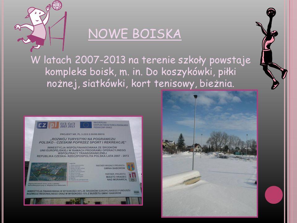 NOWE BOISKA W latach 2007-2013 na terenie szkoły powstaje kompleks boisk, m. in. Do koszykówki, piłki nożnej, siatkówki, kort tenisowy, bieżnia.