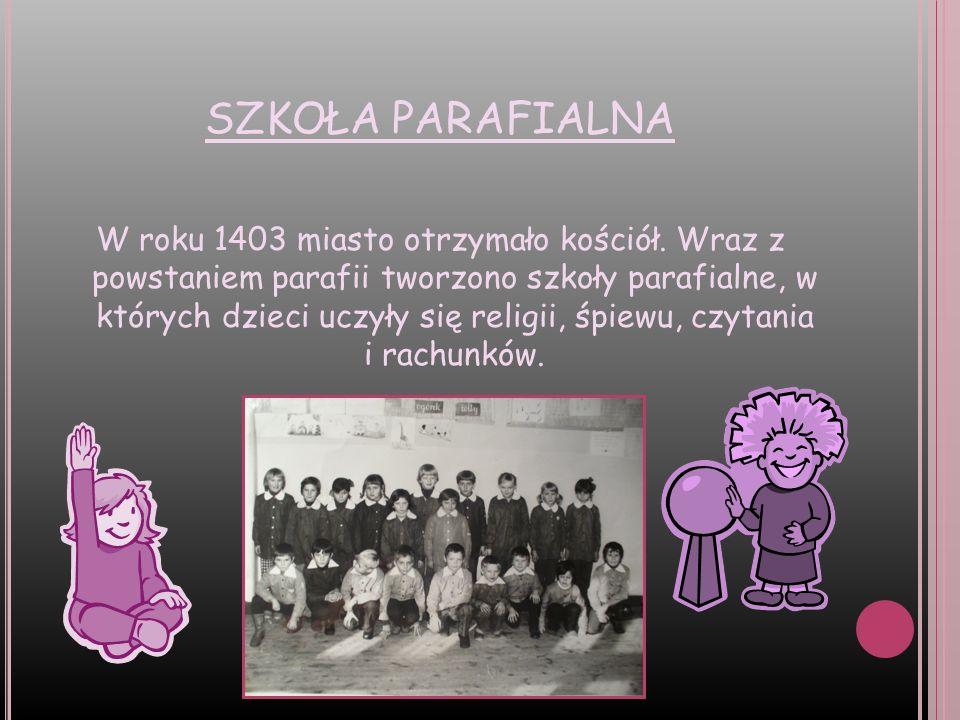 POCZĄTKI SZKOLNICTWA Do szkoły w Baborowie powstałej w 1386 r.