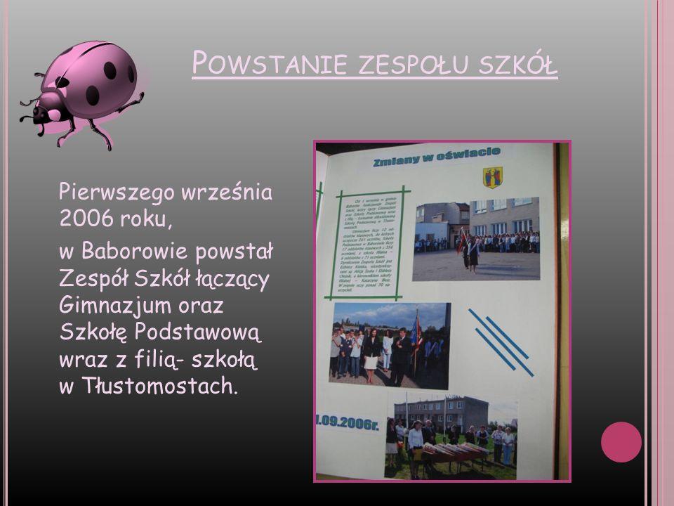 P OWSTANIE ZESPOŁU SZKÓŁ Pierwszego września 2006 roku, w Baborowie powstał Zespół Szkół łączący Gimnazjum oraz Szkołę Podstawową wraz z filią- szkołą