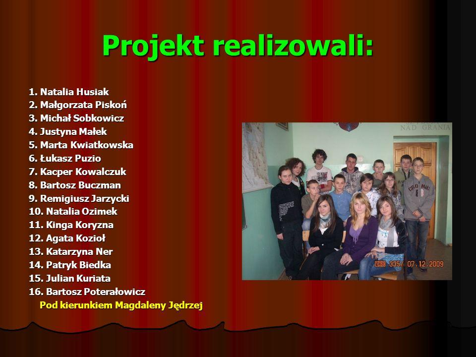 Projekt realizowali: 1.Natalia Husiak 2. Małgorzata Piskoń 3.