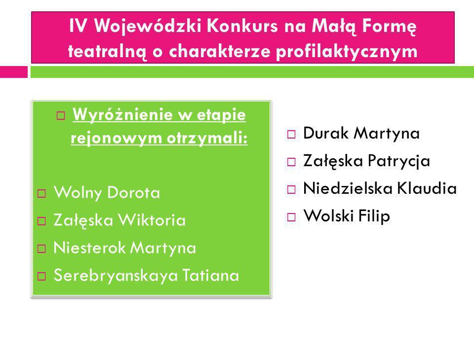 IV Wojewódzki Konkurs na Małą Formę teatralną o charakterze profilaktycznym Wyróżnienie w etapie rejonowym otrzymali: Wolny Dorota Załęska Wiktoria Ni