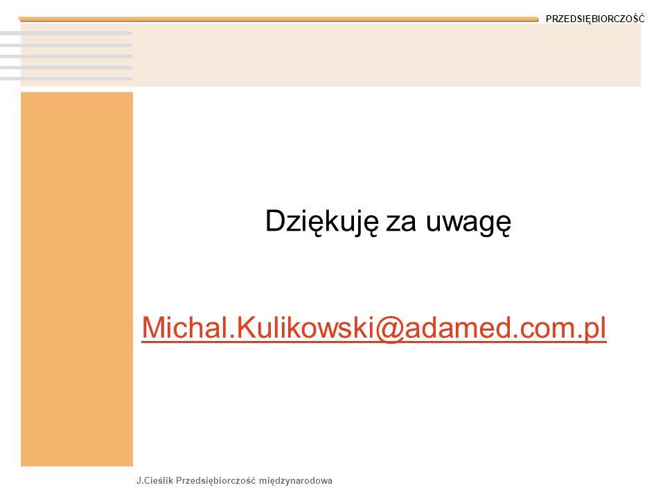 PRZEDSIĘBIORCZOŚĆ J.Cieślik Przedsiębiorczość międzynarodowa Dziękuję za uwagę Michal.Kulikowski@adamed.com.pl