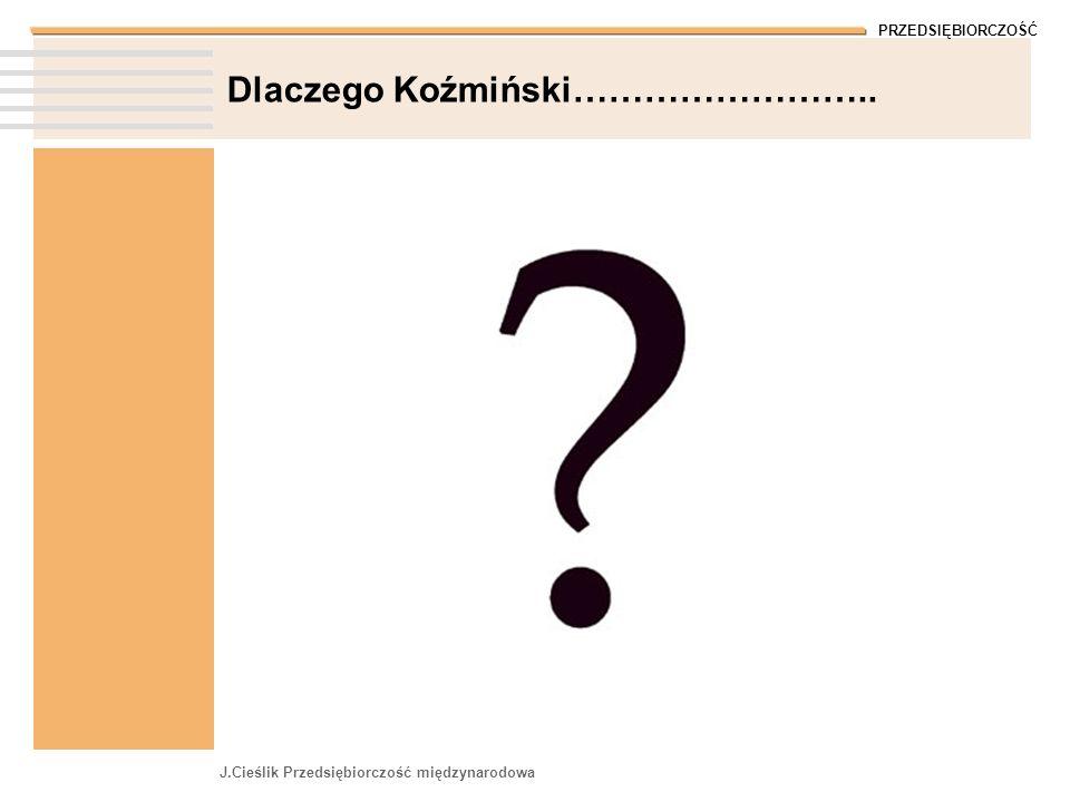PRZEDSIĘBIORCZOŚĆ J.Cieślik Przedsiębiorczość międzynarodowa Dlaczego Koźmiński……………………..