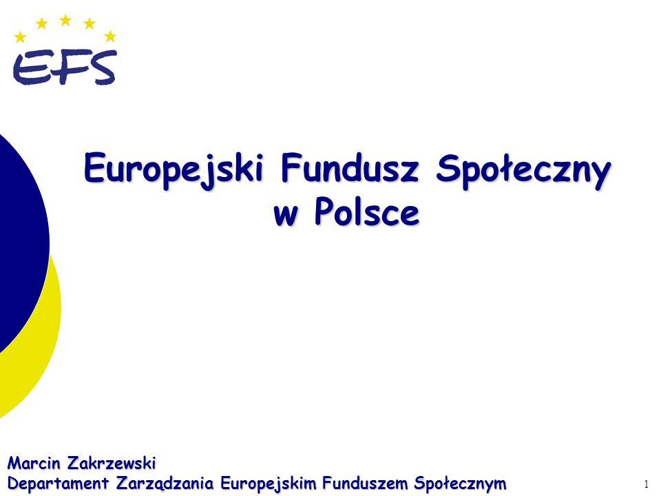 1 Marcin Zakrzewski Departament Zarządzania Europejskim Funduszem Społecznym Europejski Fundusz Społeczny w Polsce