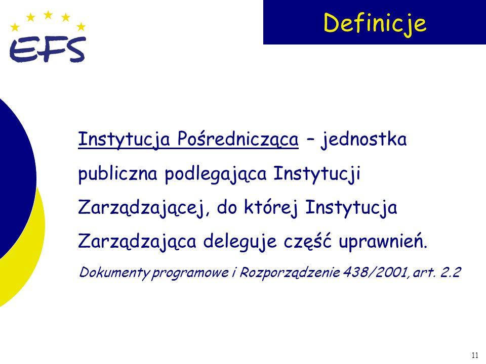 11 Definicje Instytucja Pośrednicząca – jednostka publiczna podlegająca Instytucji Zarządzającej, do której Instytucja Zarządzająca deleguje część upr
