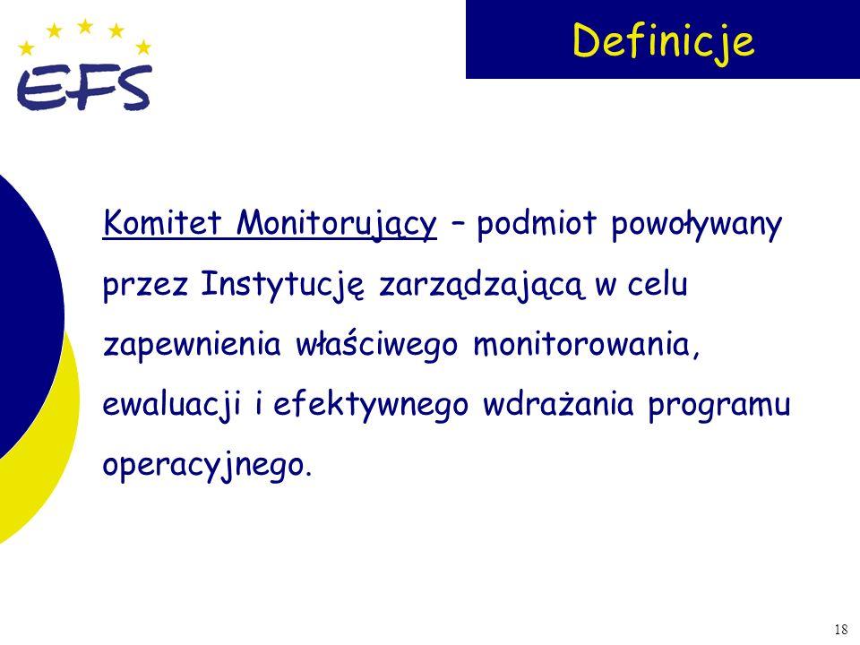 18 Definicje Komitet Monitorujący – podmiot powoływany przez Instytucję zarządzającą w celu zapewnienia właściwego monitorowania, ewaluacji i efektywn