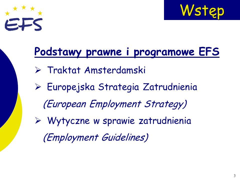 3Wstęp Podstawy prawne i programowe EFS Traktat Amsterdamski Europejska Strategia Zatrudnienia (European Employment Strategy) Wytyczne w sprawie zatru