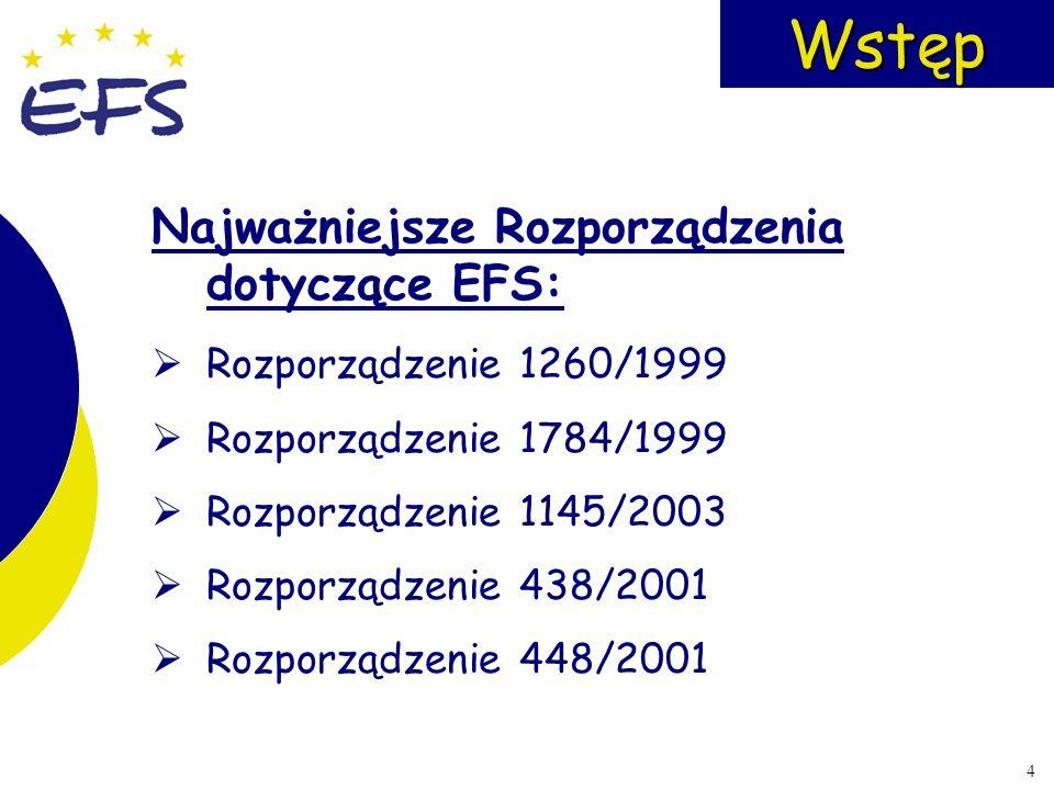 4Wstęp Najważniejsze Rozporządzenia dotyczące EFS: Rozporządzenie 1260/1999 Rozporządzenie 1784/1999 Rozporządzenie 1145/2003 Rozporządzenie 438/2001