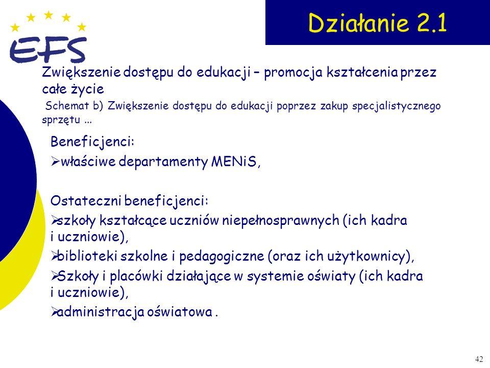 42 Działanie 2.1 Beneficjenci: właściwe departamenty MENiS, Ostateczni beneficjenci: szkoły kształcące uczniów niepełnosprawnych (ich kadra i uczniowi