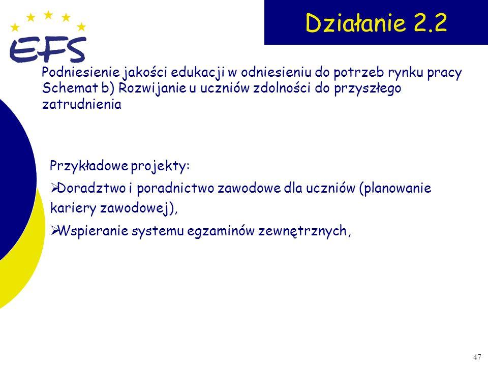 47 Działanie 2.2 Przykładowe projekty: Doradztwo i poradnictwo zawodowe dla uczniów (planowanie kariery zawodowej), Wspieranie systemu egzaminów zewnę