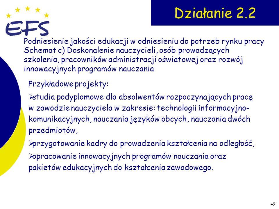 49 Działanie 2.2 Przykładowe projekty: studia podyplomowe dla absolwentów rozpoczynających pracę w zawodzie nauczyciela w zakresie: technologii inform