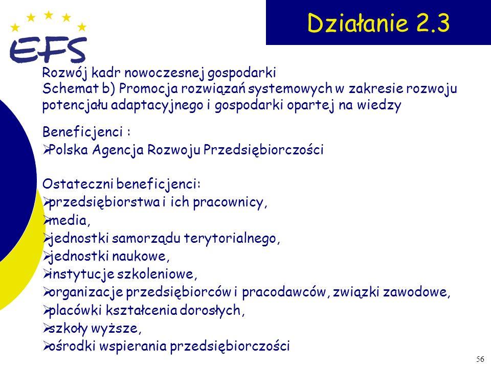 56 Działanie 2.3 Beneficjenci : Polska Agencja Rozwoju Przedsiębiorczości Ostateczni beneficjenci: przedsiębiorstwa i ich pracownicy, media, jednostki