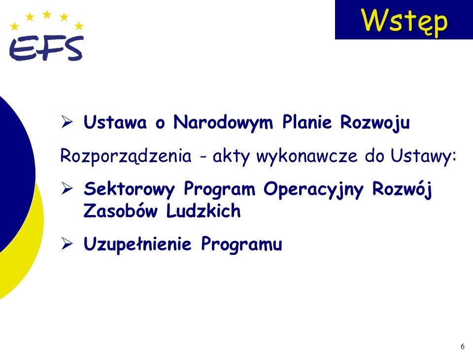 7 Funkcjonowanie EFS Komitet Monitorujący KOMISJA EUROPEJSKA Instytucje pośredniczące Instytucja ZarządzającaInstytucja Płatnicza Beneficjent Instytucja Wdrażająca