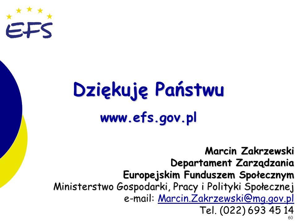 60 Dziękuję Państwu www.efs.gov.pl Marcin Zakrzewski Departament Zarządzania Europejskim Funduszem Społecznym Ministerstwo Gospodarki, Pracy i Polityk