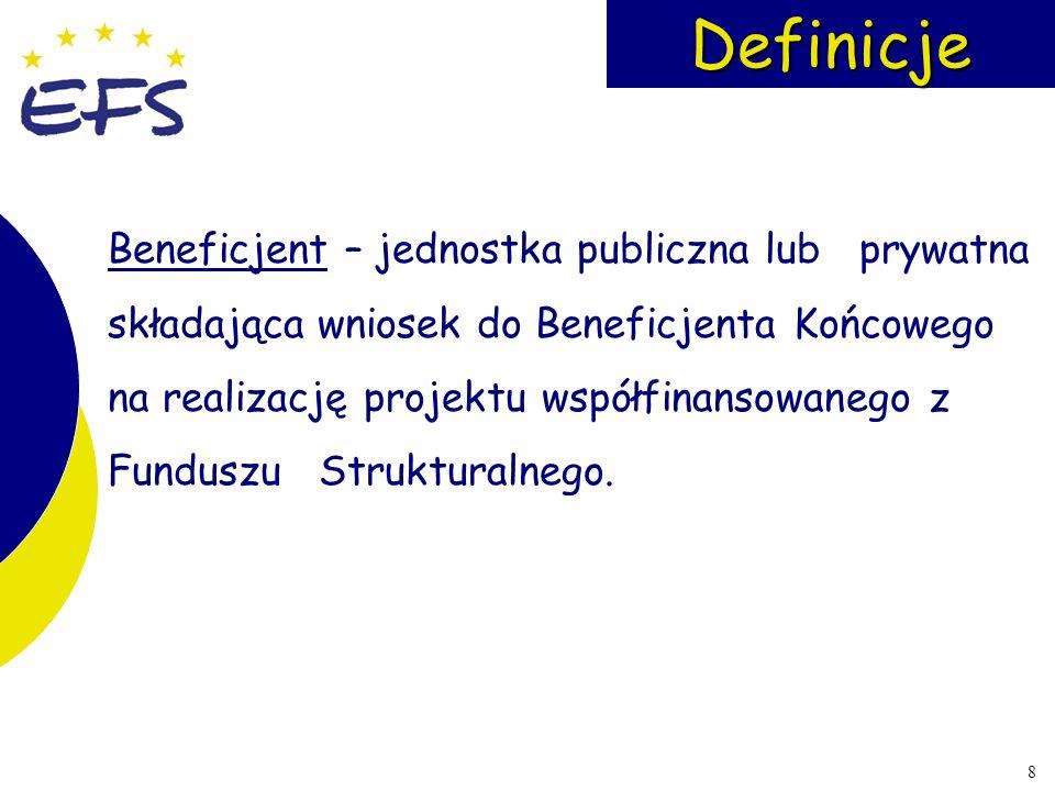 8Definicje Beneficjent – jednostka publiczna lub prywatna składająca wniosek do Beneficjenta Końcowego na realizację projektu współfinansowanego z Fun