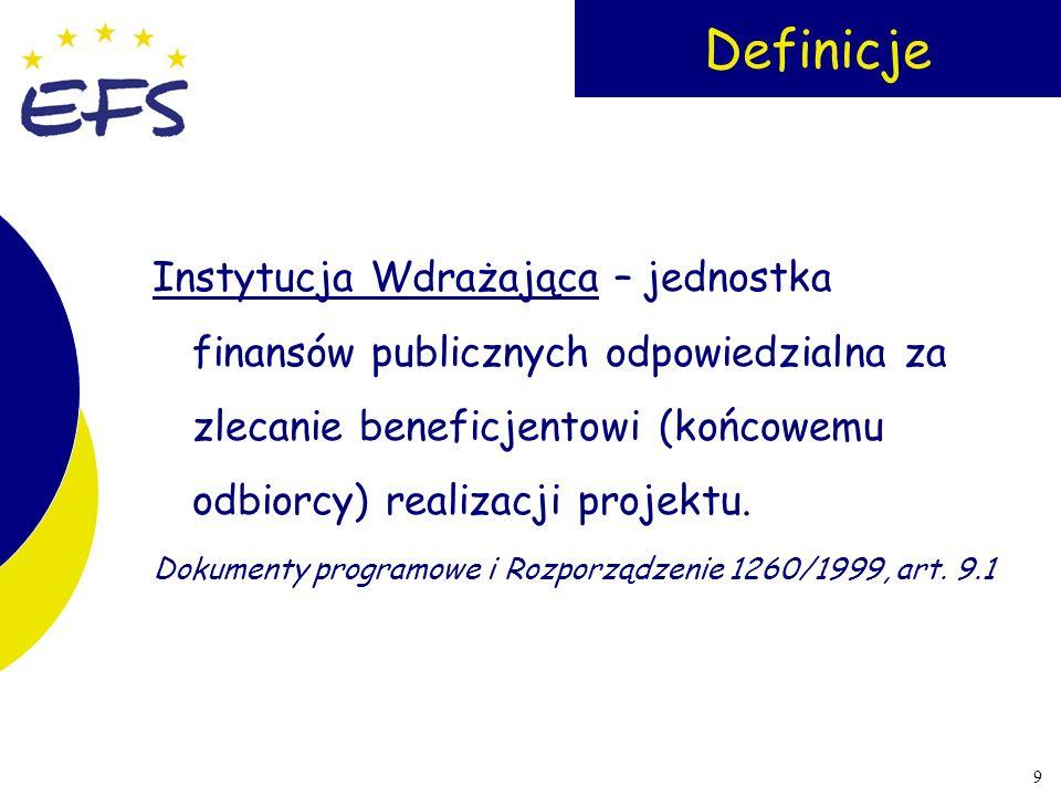 10 Definicje Instytucje Wdrażające w SPO RZL: Departament Wdrażania EFS w MGPiPS (1.1, 1.5, 1.6, Priorytet 3), Wojewódzkie Urzędy Pracy (1.2, 1.3), Państwowy Fundusz Rehabilitacji Osób Niepełnosprawnych (PFRON) (1.4), Biuro Wdrażania EFS w MENiS (2.1, 2.2), Polska Agencja Rozwoju Przedsiębiorczości (2.3), Urząd Służby Cywilnej (2.4).