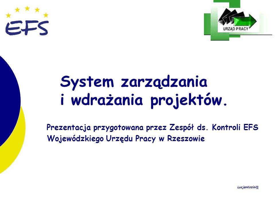 1 1 System zarządzania i wdrażania projektów. Prezentacja przygotowana przez Zespół ds. Kontroli EFS Wojewódzkiego Urzędu Pracy w Rzeszowie LucjanKozi