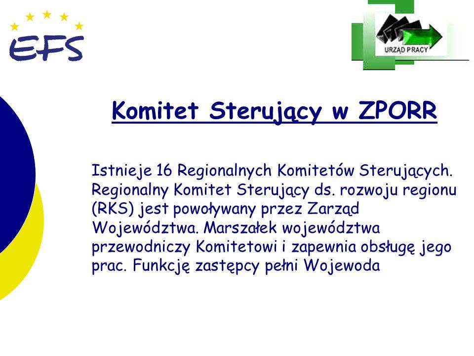 11 Komitet Sterujący w ZPORR Istnieje 16 Regionalnych Komitetów Sterujących.