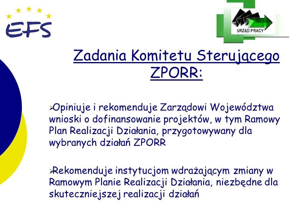 12 Zadania Komitetu Sterującego ZPORR: Opiniuje i rekomenduje Zarządowi Województwa wnioski o dofinansowanie projektów, w tym Ramowy Plan Realizacji D