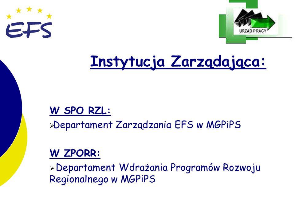 14 Instytucja Zarządająca: W SPO RZL: Departament Zarządzania EFS w MGPiPS W ZPORR: Departament Wdrażania Programów Rozwoju Regionalnego w MGPiPS