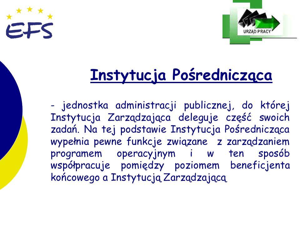 15 Instytucja Pośrednicząca - jednostka administracji publicznej, do której Instytucja Zarządzająca deleguje część swoich zadań. Na tej podstawie Inst