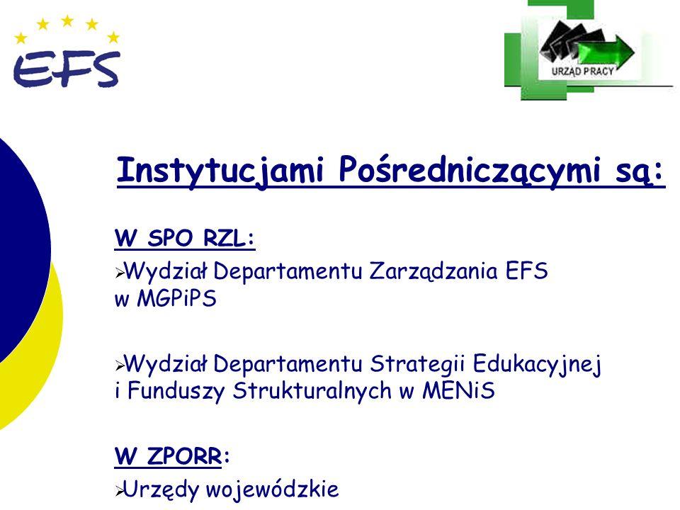 16 Instytucjami Pośredniczącymi są: W SPO RZL: Wydział Departamentu Zarządzania EFS w MGPiPS Wydział Departamentu Strategii Edukacyjnej i Funduszy Strukturalnych w MENiS W ZPORR: Urzędy wojewódzkie