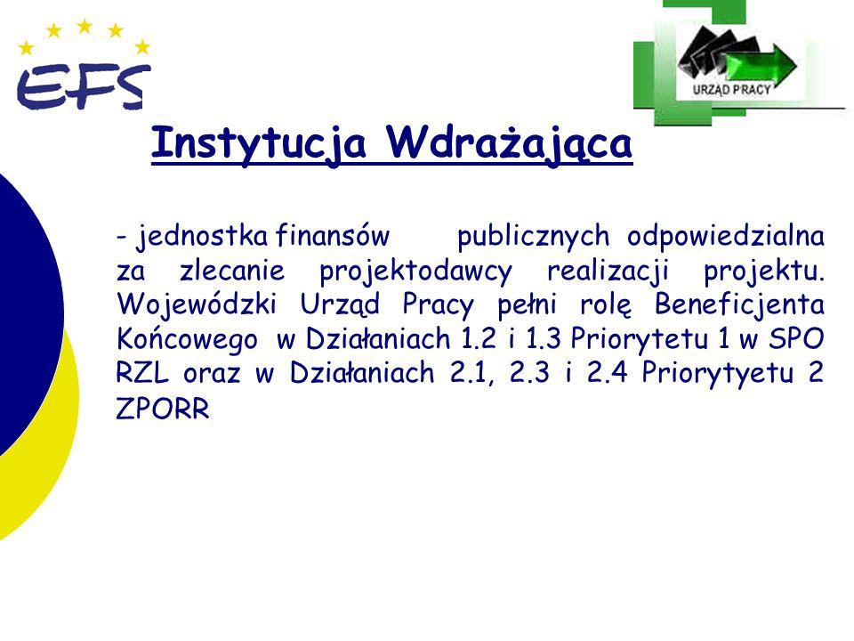 17 Instytucja Wdrażająca - jednostka finansów publicznych odpowiedzialna za zlecanie projektodawcy realizacji projektu. Wojewódzki Urząd Pracy pełni r