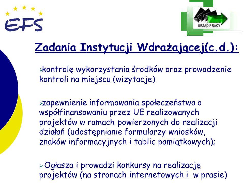 19 Zadania Instytucji Wdrażającej(c.d.): kontrolę wykorzystania środków oraz prowadzenie kontroli na miejscu (wizytacje) zapewnienie informowania społ