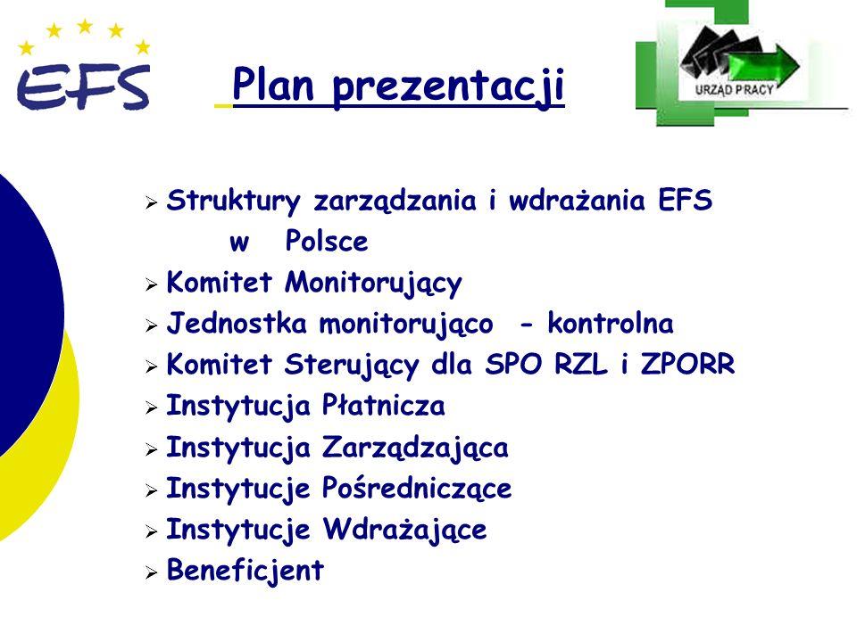 2 2 Plan prezentacji Struktury zarządzania i wdrażania EFS w Polsce Komitet Monitorujący Jednostka monitorująco - kontrolna Komitet Sterujący dla SPO