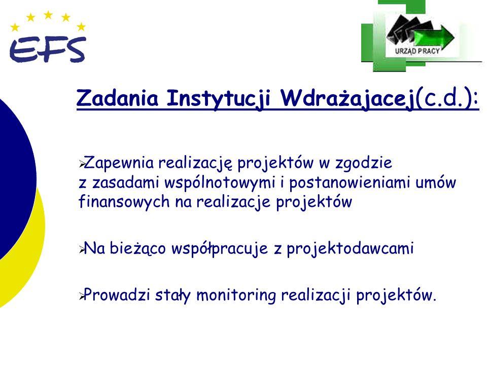21 Zadania Instytucji Wdrażajacej (c.d.): Zapewnia realizację projektów w zgodzie z zasadami wspólnotowymi i postanowieniami umów finansowych na reali