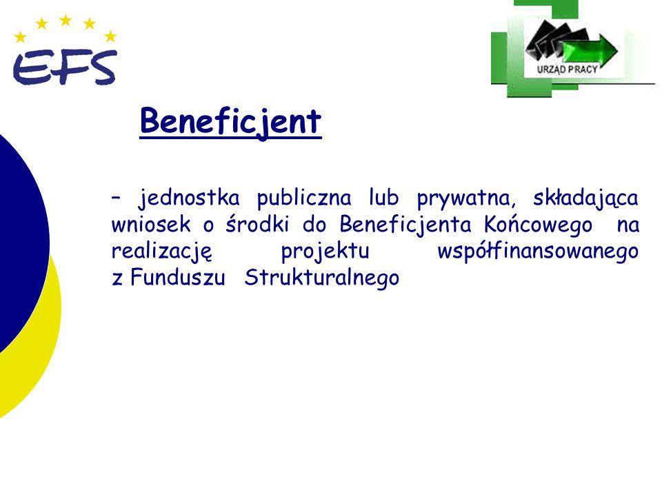 24 Beneficjent – jednostka publiczna lub prywatna, składająca wniosek o środki do Beneficjenta Końcowego na realizację projektu współfinansowanego z F