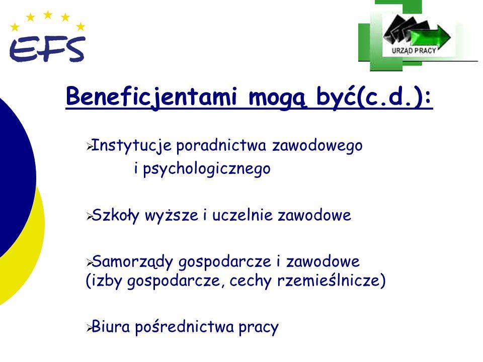 26 Beneficjentami mogą być(c.d.): Instytucje poradnictwa zawodowego i psychologicznego Szkoły wyższe i uczelnie zawodowe Samorządy gospodarcze i zawodowe (izby gospodarcze, cechy rzemieślnicze) Biura pośrednictwa pracy