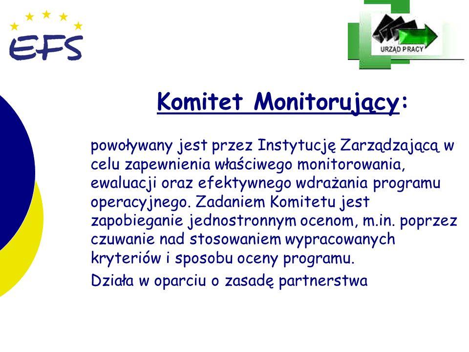 4 4 Komitet Monitorujący: powoływany jest przez Instytucję Zarządzającą w celu zapewnienia właściwego monitorowania, ewaluacji oraz efektywnego wdraża