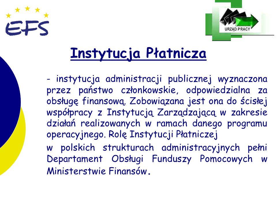 9 9 Instytucja Płatnicza - instytucja administracji publicznej wyznaczona przez państwo członkowskie, odpowiedzialna za obsługę finansową. Zobowiązana