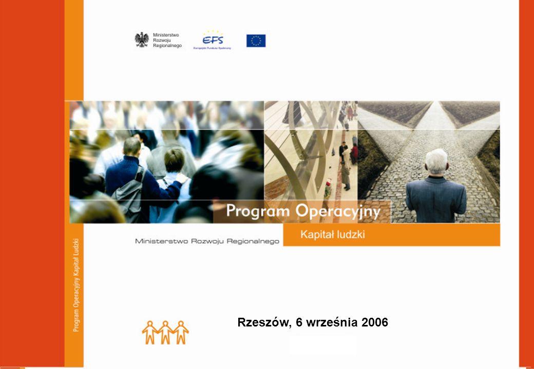 Program Operacyjny Kapitał Ludzki Cel główny PO Kapitał Ludzki wynikający z Narodowych Strategicznych Ram Odniesienia 2007 - 2013: Wzrost poziomu zatrudnienia i spójności społecznej Cele szczegółowe:  Dopasowanie zasobów pracy do zmieniającej się sytuacji na rynku pracy  Zmniejszenie obszarów wykluczenia społecznego  Podniesienie poziomu i jakości wykształcenia społeczeństwa  Wsparcie dla budowy sprawnego i partnerskiego państwa  Wzrost spójności terytorialnej