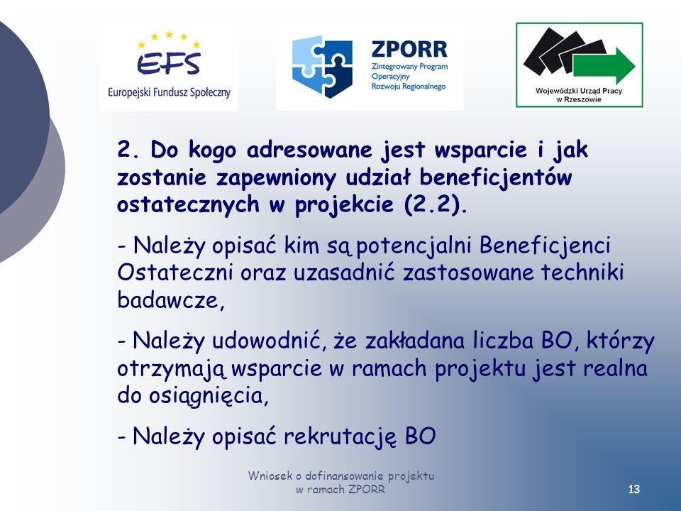 Wniosek o dofinansowanie projektu w ramach ZPORR13 2.